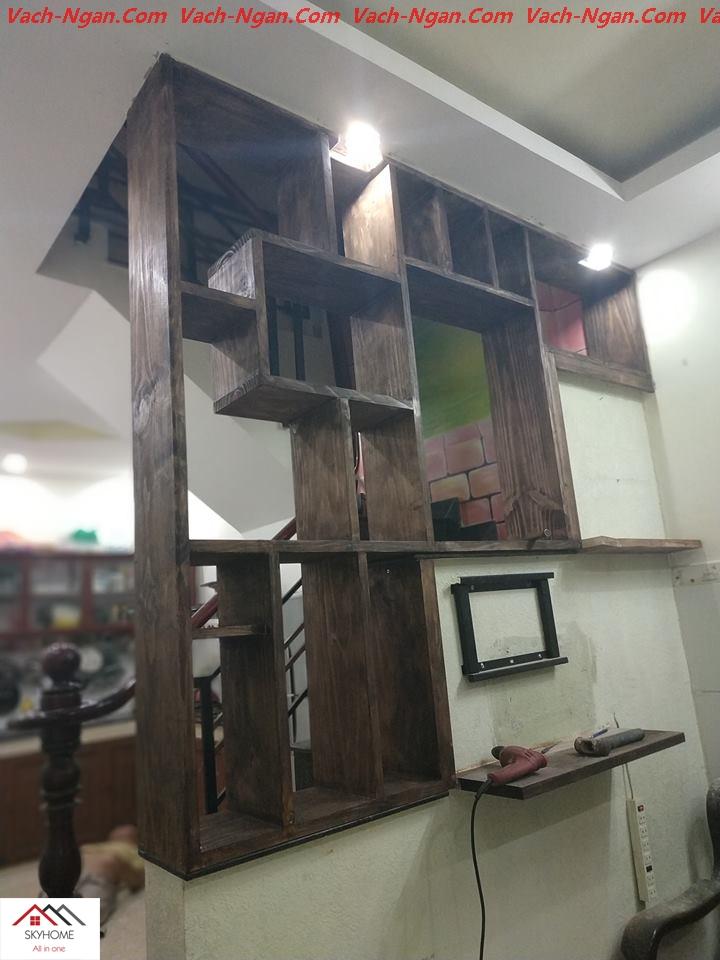 vách ngăn gỗ cầu thang 3